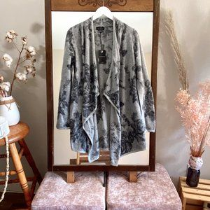 Lucky Brand Gray Floral Open Knit Cozy Cardigan